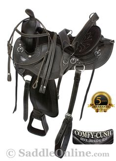 """$449.99! No more saddle sores! This one is going to keep you riding for hours and hours! The seat is deep and very comfortable and extremely well padded. The saddle features a rounded skirt that is excellent for short backed horses. Basket weave tooling, padded stirrups and numerous latigos give style and class to this saddle. The numerous """"O"""" rings are excellent for all of your accessories. In-skirt rigging and leather cinch straps provide extra security and strength."""