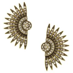 Stand out in a smoky speakeasy or lively jazz club with these bold and eye-catching earrings, featuring a sunburst design and rhinestone accents.