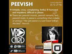 ویدیوکارد کلمه peevish از کتاب Verbal Advantage – سطح ۱