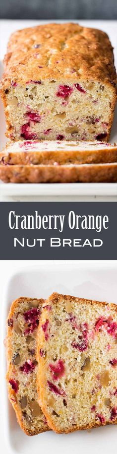 Delicious Cranberry Orange Bread! With chopped cranberries, walnuts, and orange zest. Perfect for the holidays. #cranberries #CranberryOrange #CranberryDessert #HolidayDessert
