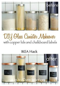 DIY Glass Canister Makeover- IKEA hack - an easy inexpensive way to get in on the new copper trend!