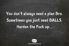 You don't always need a plan Bro. Sometimes you just need BALLS. Harden the Fuck up... - Quote From Recite.com #RECITE #QUOTE