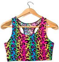Rainbow Leopard Print Spandex Crop Top