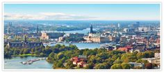 Picture of Scenic summer aerial panorama of Stockholm, Sweden stock photo, images and stock photography. Helsinki, Kingdom Of Sweden, Stockholm Archipelago, Scandinavian Countries, Sweden Travel, Fjord, City Break, Boeing 747, Summer Travel