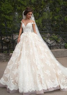 Gorgeous Lace Appliques Ball Gown Wedding Dress 2016 Off-the-shoulder Zipper_High Quality Wedding & Evening Prom Dresses at Factory Price-27DRESS.COM