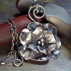 Handmade Sterling Silver Rose Flower Pendant  by LavenderCottage, $72.00