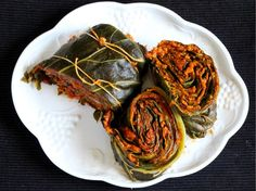 Patrado / Collard Leaves With Indian Twist is a very popular, soft, delicious and spicy Konkani recipe prepared using rice, coconut and dry red chill.