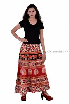 Skirt Indian Women Printed Red Color Wrap Around Cotton Calf Long Skirt Wrap Around Skirt, Elephant Print, Red Skirts, Cotton Skirt, Red Color, Calves, Women Wear, Indian, Womens Fashion