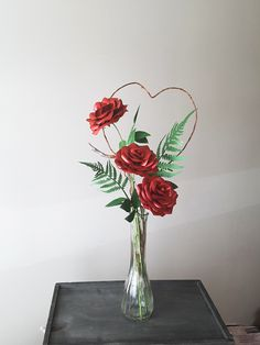 3 Satin Red premium roses in a tall vase, with assorted paper greenery. Tall Vases, Greenery, Glass Vase, Bouquet, Roses, Satin, Dreams, Paper, Home Decor