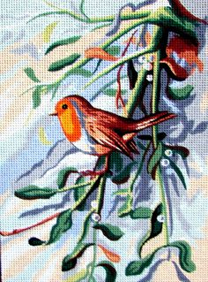 FREE SHIPPING//*Needlepoint Canvas, by Royal Paris. A Vintage (1994) Printed  Needlepoint of a Robin on a Branch.  //On SPECIAL!!