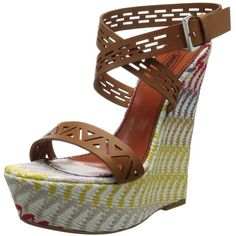 Missoni Women's Woven Wedge Sandal ($314) ❤ liked on Polyvore featuring shoes, sandals, cut out sandals, strappy shoes, wrap around ankle sandals, cutout sandals and leather ankle wrap sandals