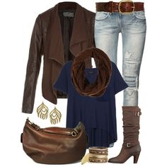 Love the distressed jeans, the navy t-shirt with the brown scarf, the brown boots, the brown handbag and the brown jacket to pull the outfit all together - great look for fall