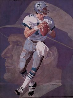 """""""Legacy"""" Dallas Cowboys QB Roger Staubach with coach Tom Landry in background, 8 x11 inch size by Matthew Campbell, 2000."""