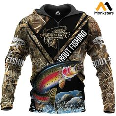 Trout Fishing All Over Printed Shirts Trout Fishing, Fishing Rods, Carp Fishing, Ice Fishing, Fishing Tackle, Camo Sweatshirt, Cheap Hoodies, Girls Sweaters, Black Hoodie