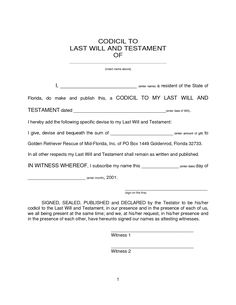 Last Will - Free Last Will and Testament Form, Document Sample ...
