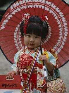 Girl dressed in a kimono at the Shichi-Go-San Festival, Japan.