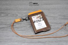 MICO leather Badge holder/ ID Pass holder/ Badge Lanyard (Oblique) Leather Card Case, Leather Wallet, Leather Badge Holder, Edc Bag, Money Bill, Simple Wallet, Leather Projects, Leather Crafts, Badge Holders