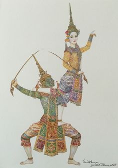"""Lakshmana's lofting on Indrajit"", watercolor on paper, by Chakrabhand Posayakrit, a Thai national artist Fabric Painting, Artist Painting, Painting & Drawing, Cambodian Art, Thailand Art, Oriental Tattoo, Thai Art, Great Paintings, Paint Designs"