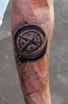 tatuaże męskie kompas 3d