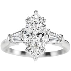 Harry Winston   Products   Engagement   Diamond Rings   Classic Winston, Marquise Ring