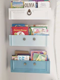 Stacey, the blogger behind Addison Meadows Lane, repurposed drawers into a fun set of hanging bookshelves for a children's room. See how here.