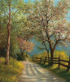 Spring country road nice trees