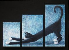 Tuxedo Cat Art Triptych by NewChapterArts on Etsy