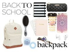 """In my backpack"" by hola-hi ❤ liked on Polyvore featuring Aéropostale, Betsey Johnson, Kate Spade, claire's, Sony, Invisibobble, The Wet Brush, backpack and inmybackpack"