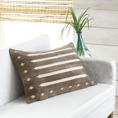 Mocha Dhurrie Pillow Cover – Striped - NEW