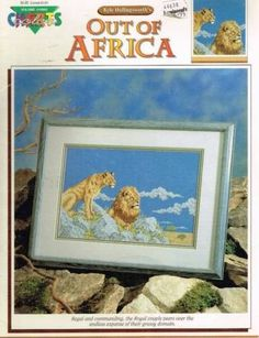 """Cross Stitch Patterns Color Charts """"Out of Africa"""" Lion Lioness"""
