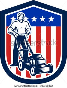 Illustration of male gardener mowing with lawn mower in american flag stars stripes set inside a shield done in retro woodcut style. #lawnmower #laborday #woodcut #illustration