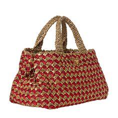 Prada Red/ Honey Bi-Color Raffia Tote Bag   Overstock.com