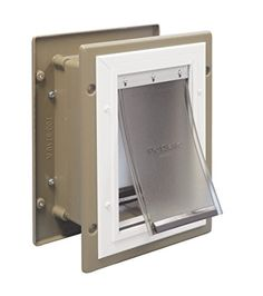 Dog door 8249 materials for operation pinterest dog dog petsafe wall entry aluminum pet door with telescoping tunnel taupe and white small now grayson can do his business in the garage solutioingenieria Gallery