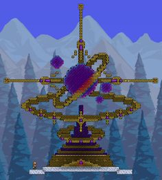 After taking a break from Terraria (due to a lack of ideas), I decided to get back into it. Starbound had me thinking about planets and other stuff so I decided to build some sort of mechanical contra Terraria House Design, Terraria House Ideas, Terraria Tips, Minecraft Creations, Minecraft Designs, Minecraft Ideas, Terraria Castle, Minecraft Building Guide, Disney Wallpaper