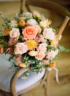 Shades of Apricot and pale Peach created with California grown Seasonal flowers. Diana Marie Photography