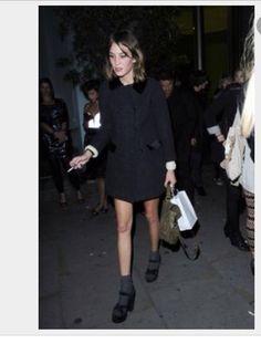 Black shirt coat, platforms and socks. Alexa Chung style.