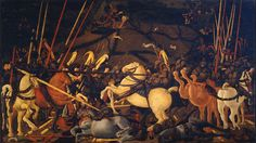 UCELLO: Battle of San Romano by Paolo Uccello. c. 1438. The cycle depicts three events occurred during the Battle of San Romano that took place in 1432 between Florence and Siena and that marked the glorious victory of Florence. (The other two panels are in Paris and London.)What makes this cycle a masterpiece is the bold and experimental use of the perspective who made Uccello famous. Link to read more.