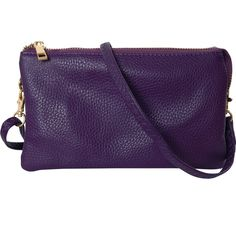 Humble Chic Vegan Leather Small Crossbody Bag or Wristlet Clutch Purse, Includes Adjustable Shoulder and Wrist Straps - Purple Small Crossbody Bag, Leather Crossbody, Purple Purse, Plum Purple, Vegan Handbags, Clutch Purse, Cross Body Handbags, Vegan Leather, Leather Purses