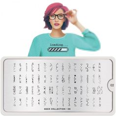 MoYou London Stamping Schablone *Geek Collection 2* 02 Nerd emoji Schrift Smiley