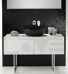 interior, wall, black, color, mosaic, bathroom, love. interior, decor, tiles