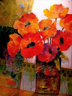 "Artwork Pop-up - ""ORANGE DREAM"" 12053, mixed media flowers red poppies © Carol Nelson Fine Art"