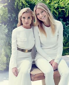 Hamptons Chic:  Gwyneth Paltrow and trainer Tracey Anderson pose for Hamptons Magazine in Ralph Lauren Collection