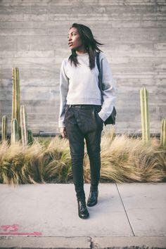 Acne Studios sweatshirt, R13 jeans, Saint Laurent boots, Chanel bag