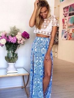ac026f76913 Hits  8 slit maxi skirt +sheer crochet lace Wachabuy Source by wachabuy  CLICK Image for full details. Cheyenne · fashion