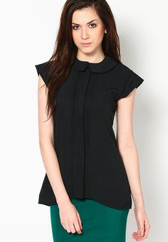 Westhreads Cap Sleeve Black Solid Top RS.699/-