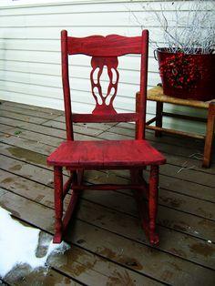 Red Distressed Vintage Rocking Chair — Vintage Farm Furniture