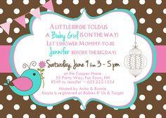 Birds Baby Shower Invitation Girl Pink by AsYouWishCreations4u