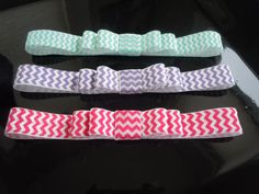 Set of 3 Chevron Headband with Mini Bow - Infant Newborn Baby Headbands - Spring Inspired Colors