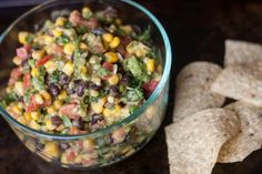 Cowboy Caviar--corn, avocados, black beans, cilantro, tomatoes & green onions with dressing. Mexican Food Recipes, Great Recipes, Vegan Recipes, Cooking Recipes, Favorite Recipes, Easy Cooking, Appetizer Recipes, Salad Recipes, Appetizers