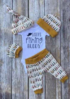 Daddys Fishing Buddy Boys Coming Home Outfit, Personalized Baby Boy Outfit, Take Home Newborn Winter Outfit, Baby Boy Layette and Hat Set by DarlinDivasandDudes on Etsy